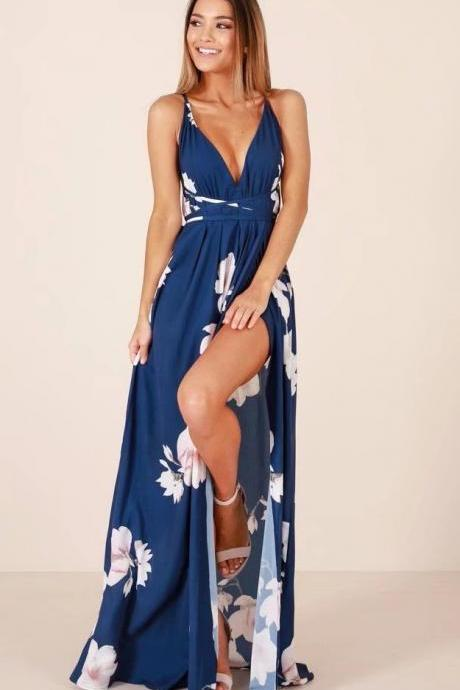 V Neck Blue Floral Print spaghetti Strap Long Dress