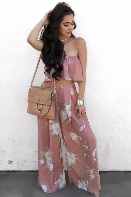 Women Two Piece Summer Off the Shoulder Floral Print Crop Top with Split Pants Set