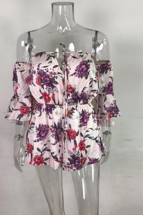 Floral Print Off Shoulder Romper Sexy Bodysuit