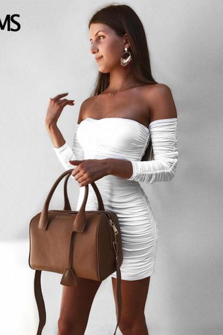 Sexy Off Shoulder Bandage Dress in Black and White