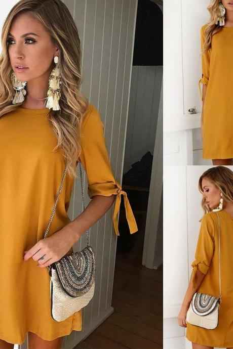 Mustard Yellow Casual Short Dress with Self Tie Quarter Sleeves