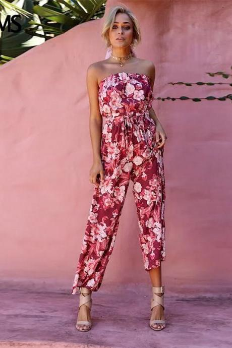Red Strapless Floral Printed Chiffon Jumpsuit