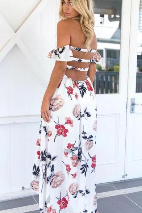 White Off Shoulder Smocked Floral Printed Maxi Dress with Open Back Bar Accent