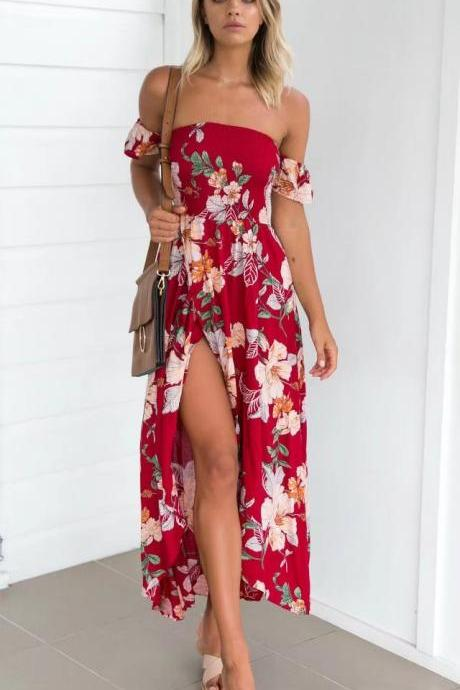 Red Smocked Off Shoulder Neckline Floral Printed Long Dress, Summer Maxi Dress