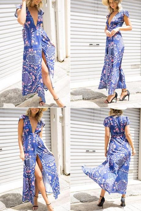 V Neck Floral Print Sexy Wrap Long Dress