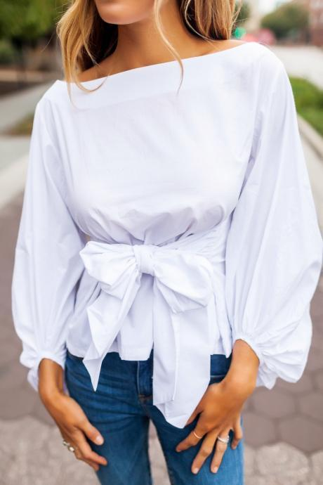Classy Off Shoulder White Bow knot Puff Sleeve Top