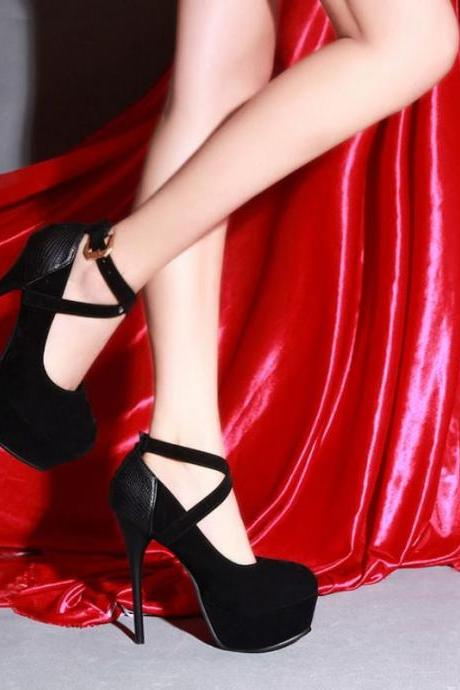 Sexy Cross Strap High Heels Platform Shoes