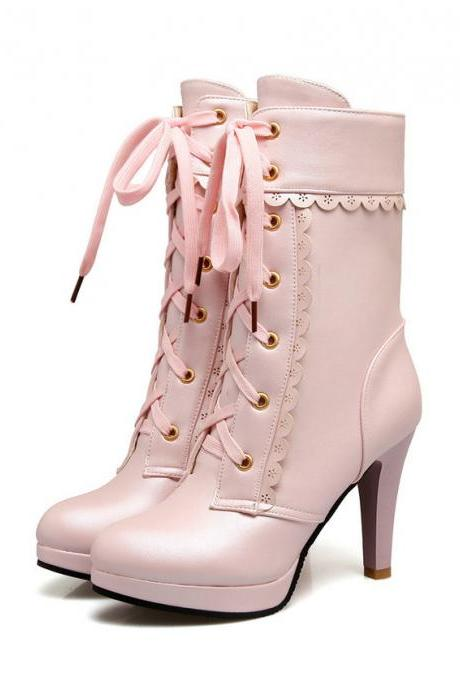Gorgeous Lace up Boots in Black Pink and White