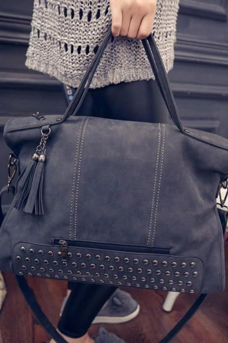 Classy Rivet Leather Hand Bag in Grey and Black