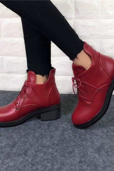 Stylish Lace up Ankle Martins Boots