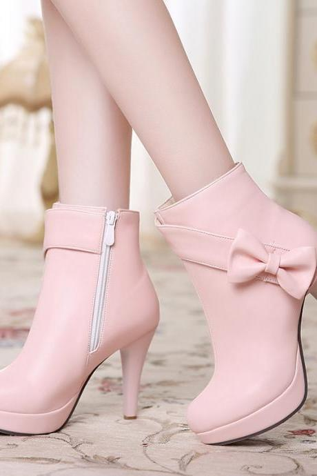 Cute Bow Design High Heels Fashion Boots