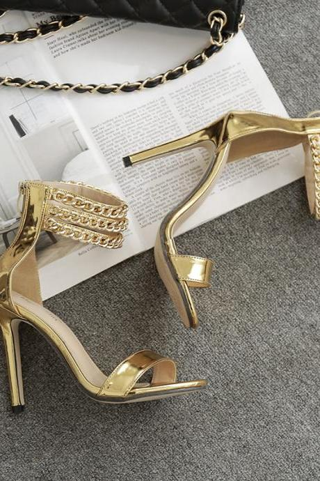 Stylish Ankle Strap High Heels Fashion Sandals in Silver and Gold
