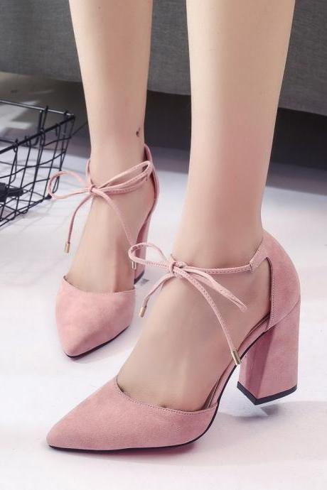 Cute Lace up Summer Suede High Heels Pointed Toe Shoes