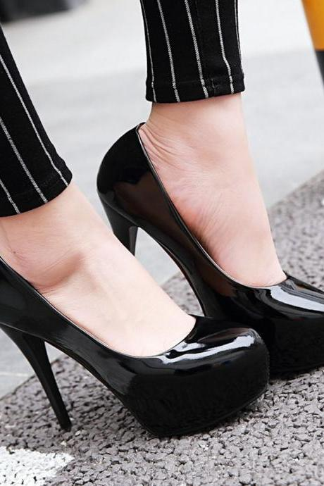 Patent Leather Rounded-Toe Platform High Heel Stilettos
