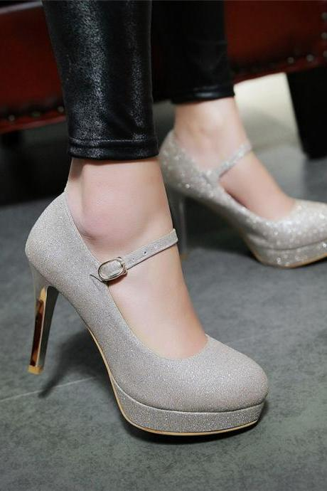 Elegant High Heels Ankle Strap Party Pumps in Silver and Gold