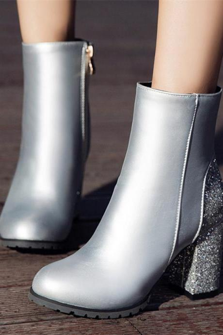 High Heels Ankle Boots in Silver and Gold