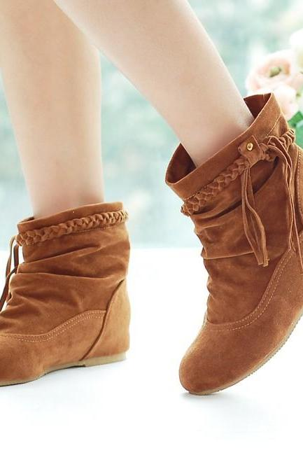 Comfy Leather Flat Heels Ankle Boots