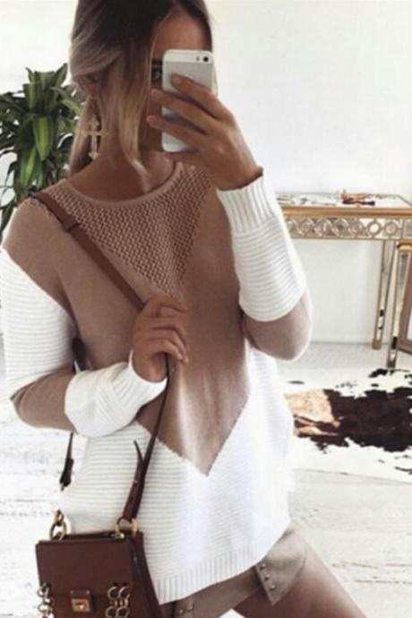 Autumn and Winter Women Knitted Pullover Sweater Top