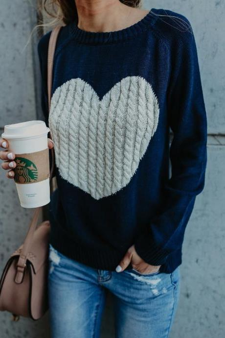 Knitted Navy Blue Long Sleeve Heart Design Sweater