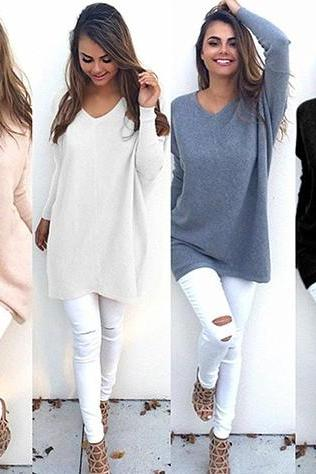 Loose Casual V Neck Long Sleeve Pullover