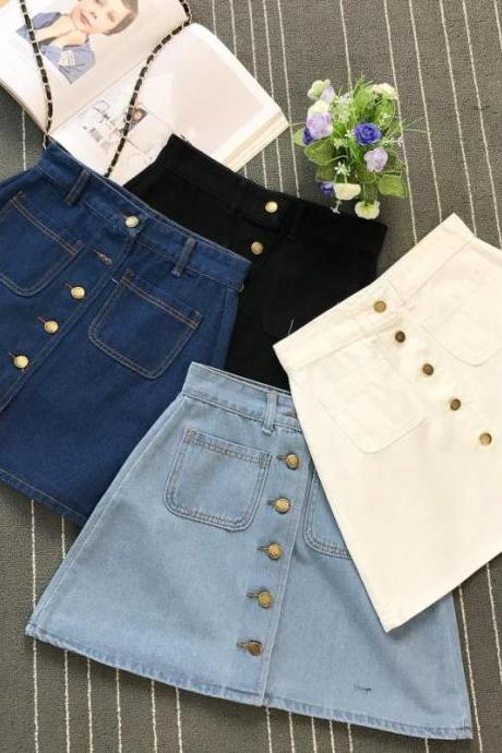 High Quality Ladies A Line Button up Denim Skirt
