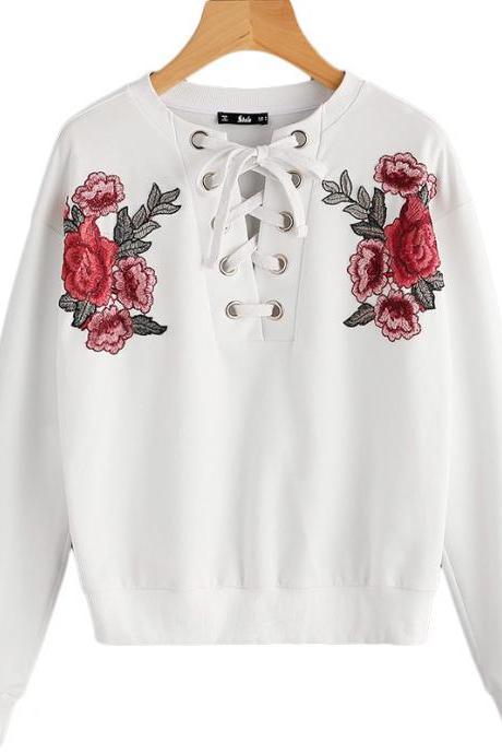 Chic White Lace up Floral Embroidery White Pullover Sweater