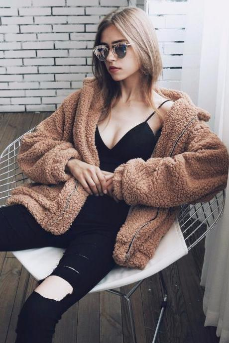 High Quality Women's Soft Plush Warm Winter Coat