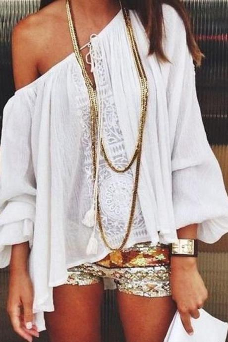 Bohemian White Off the Shoulder Chiffon and Lace Blouse