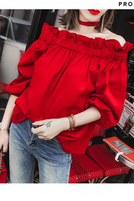Off Shoulder Ruffled Red Strapless Blouse