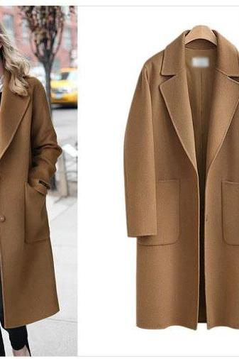 Classy Winter Women Brown Long Coat