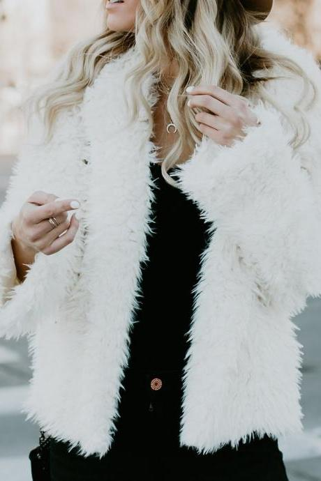 Fluffy Winter Elegant Faux Fur Warm Cardigan Jacket Coat