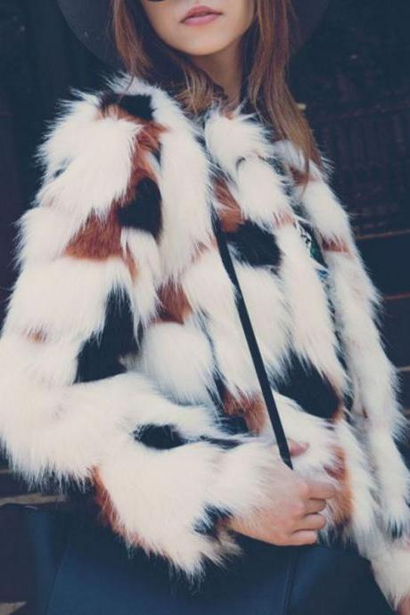 Autumn Winter Women Faux Fur Coat