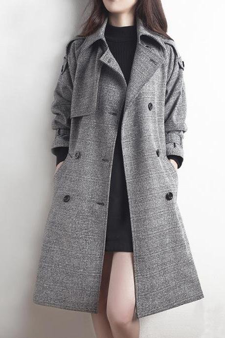 Classy Grey Down Collar Winter Trench Coat