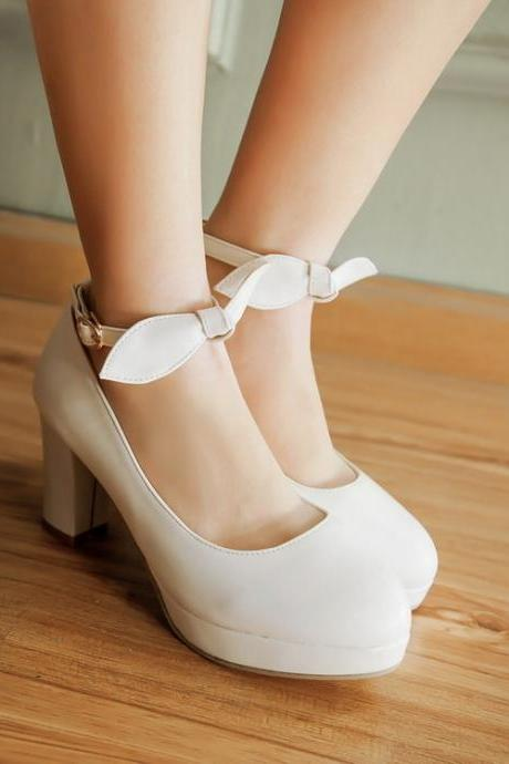White Bow Knot Ankle Strap High heels Fashion Shoes