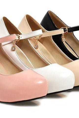 Thick Heel leather Ankle Strap Charmed High heels Fashion Shoes