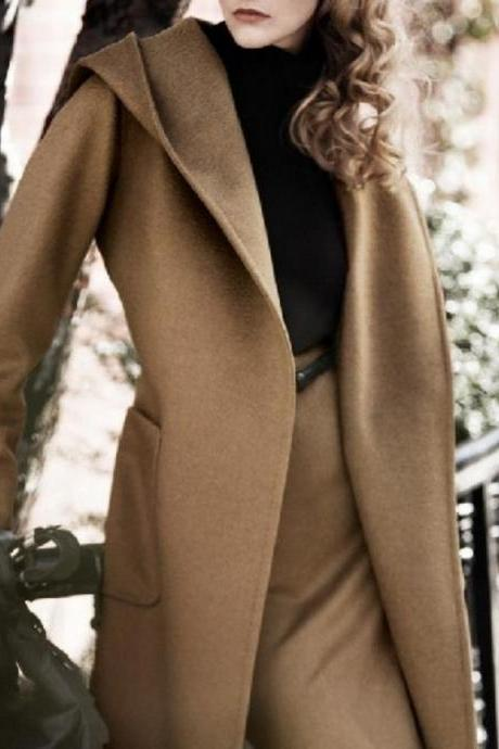 Elegant Hooded Long Winter Coat