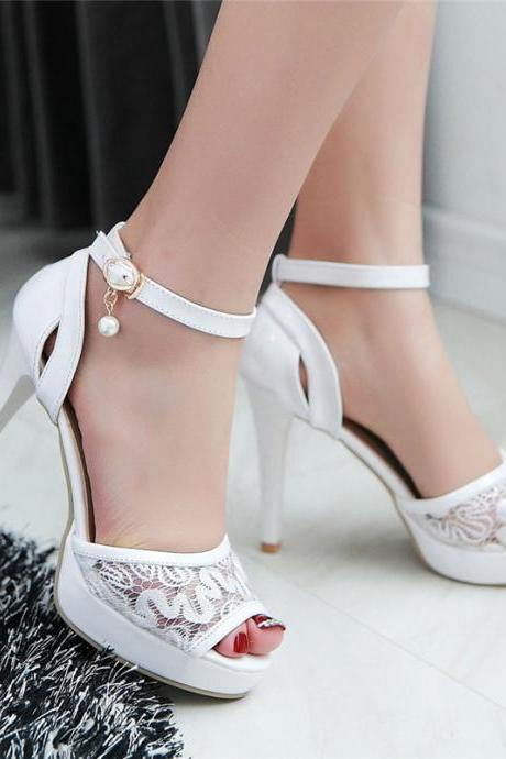 Peep toe Ankle Strap High heels Fashion Sandals with Lace Detail