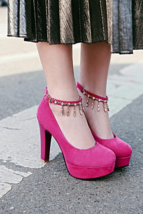 Gorgeous Rhinestone Charmed Ankle Strap High heels Fashion Shoes
