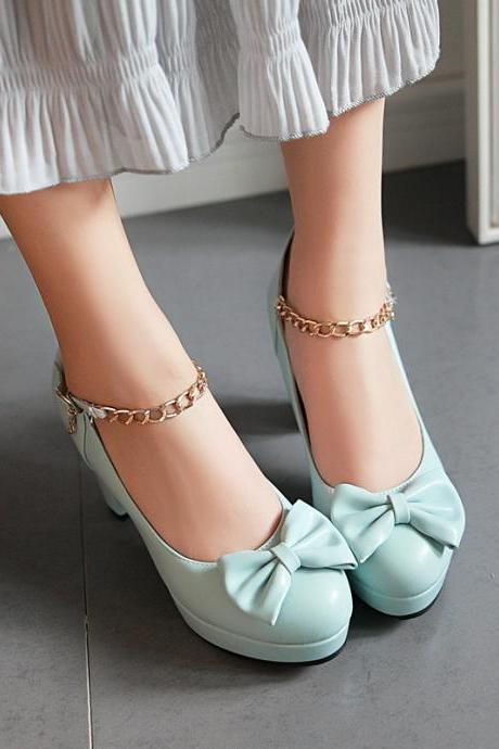 Elegant Bow Chain Ankle Strap High heels Fashion Shoes