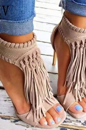 Tassel High Heels Gladiator Sandals