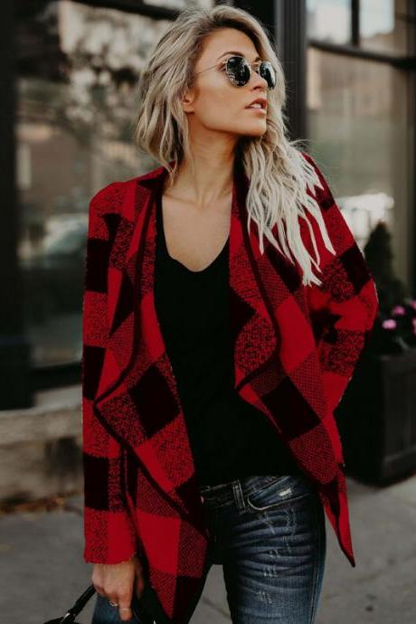 Women's Casual Plaid Jacket Coat