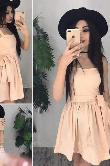 A Line Spaghetti Strap Pleated Dress