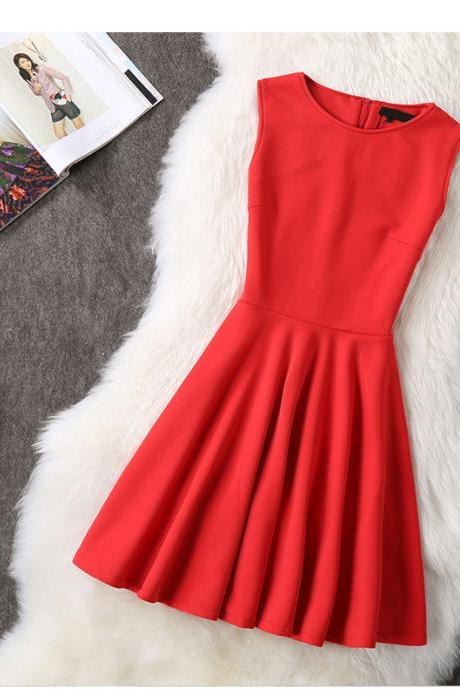 Elegant Sleeveless Red and Black Party Dress