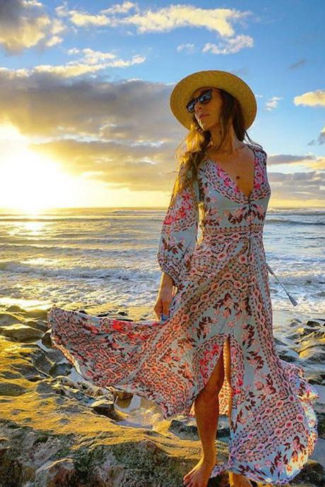 Boho Printed V Neck Long dress