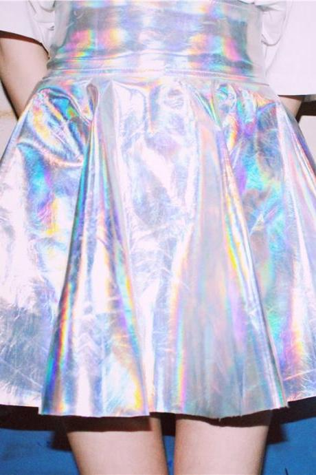 Summer Women Harajuku Skirt Silver Holographic Kawaii Skirt