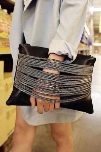 Black Clutch Bag with Strap
