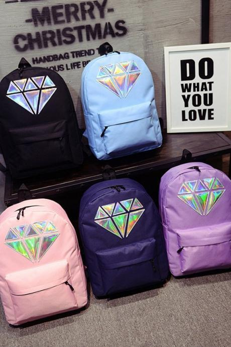 Diamond Design Holographic School Bag Backpack