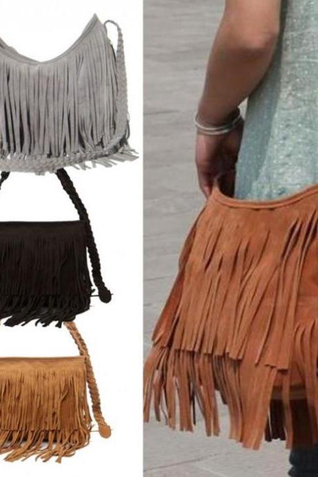 Suede Tassel Shoulder Bag Messenger Bag