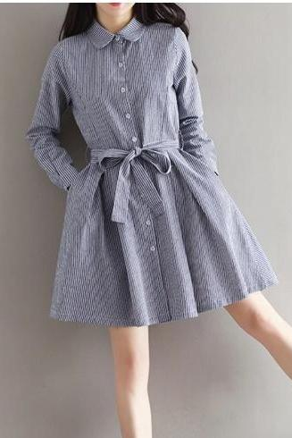 High Collar Long Sleeve Striped Casual Dress