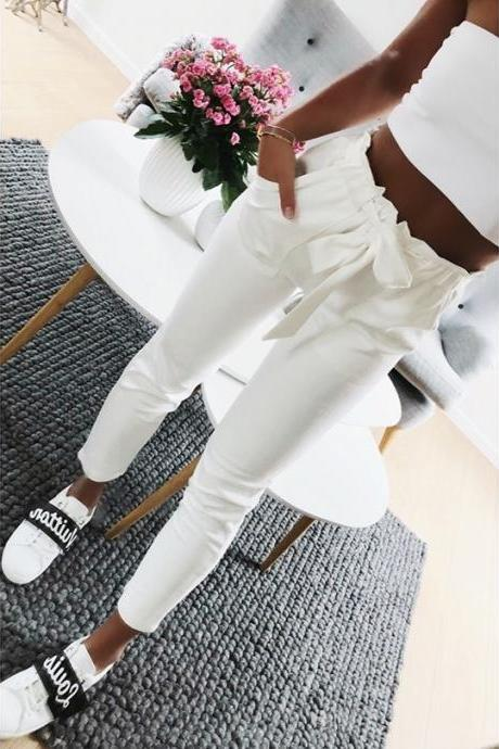 Chic White High Waist Casual Pants